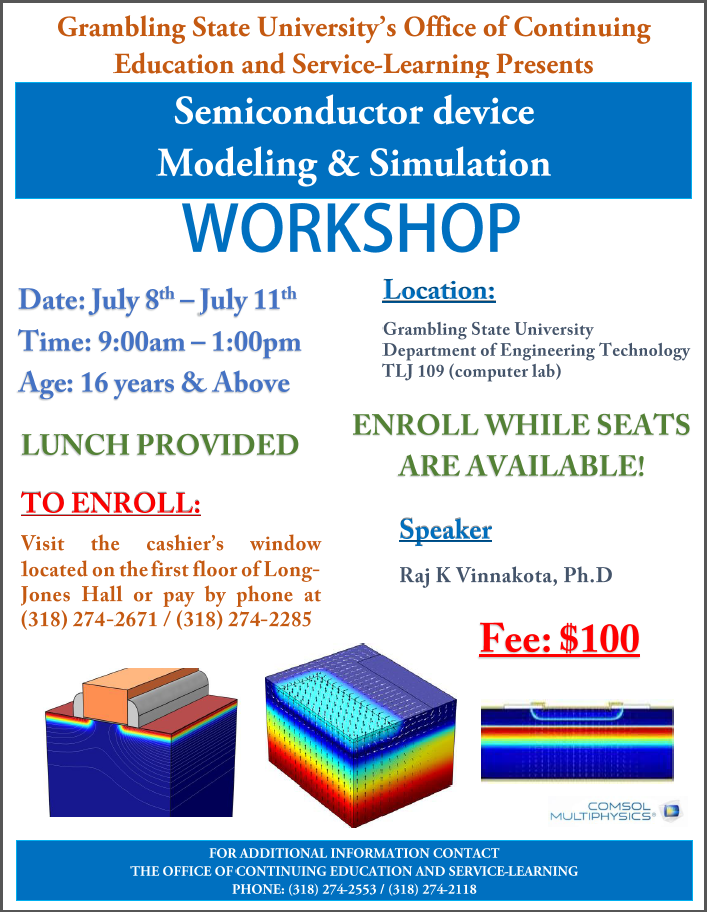 Semiconductor Device Modelling and Simulation Workshop