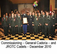 Commissioning – General Cadoria – and JROTC Cadets – December 2010