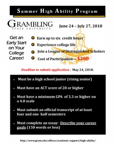 Summer High Ability Program - Jun. 24 - Jul. 27, Grambling State University