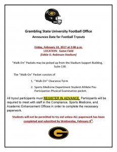 Spring 2017 Football Tryouts @ Game Field (Eddie G. Robinson Stadium) | Grambling | Louisiana | United States