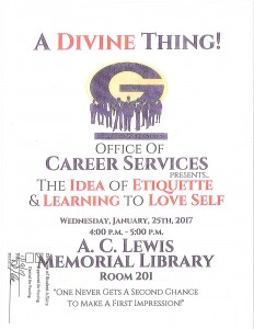 The Idea of Etiquette & Learning to Love Self @ A.C. Lewis Memorial Library Rm. 201 | Grambling | Louisiana | United States