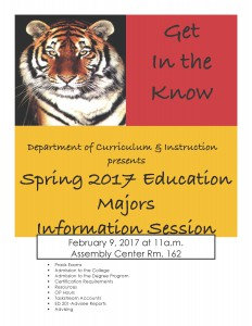 Department of Curriculum & Instruction Information Session Spring 2017 @ Hobdy Assembly Center, Rm. 162 | Grambling | Louisiana | United States