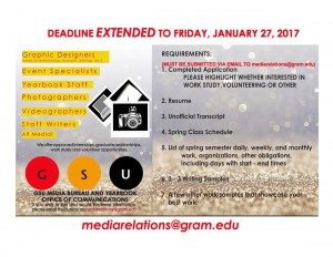 GSU Media Bureau Employment Opportunities:  Deadline EXTENDED! @ Office Of Communications (LJH) | Grambling | Louisiana | United States