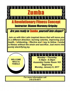 Zumba Instruction Spring 2017 @ Assembly Center Rm. 163