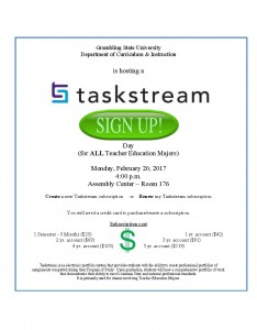 Taskstream Sign-up Day @ Hobdy Assembly Center - Room 176 | Grambling | Louisiana | United States
