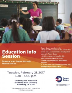 Peace Corps Education Info Session @ Grambling Hall Auditorium | Grambling | Louisiana | United States