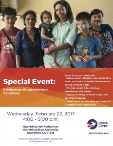 Peace Corps Special Event @ Grambling Hall Auditorium | Grambling | Louisiana | United States