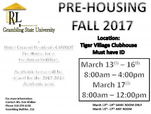 Pre-Housing Fall 2017 @ Tiger Village Clubhouse (Must have ID) | Grambling | Louisiana | United States