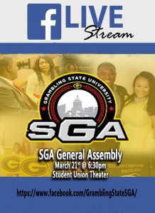 Facebook Live SGA General Assembly - Mar. 21, 6:30pm Student Union Theater
