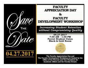 Faculty Appreciation Day - Apr. 27, 7:30 am - 1:30 pm, Black & Gold Room (FSU)