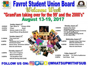 Welcome Week Flyer Fall 2017 - August 13-19