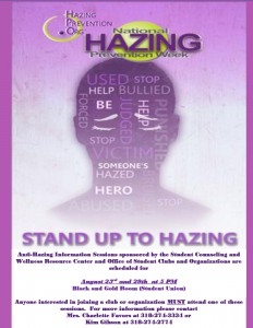 Anti-Hazing Information Session - Aug. 23 and 29, 5pm - Black & Gold Room