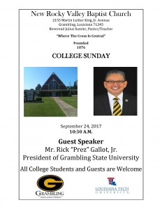Join PrezRick at the Annual College Sunday at New Rocky Valley @ New Rocky Valley Baptist Church | Grambling | Louisiana | United States