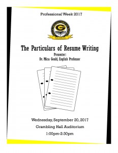 Learn About the Particulars of Resume Writing @ Grambling Hall Auditorium | Grambling | Louisiana | United States