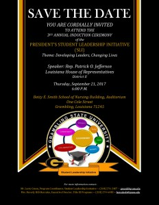 SAVE THE DATE: President's Student Leadership Initiative Induction @ Betty E. Smith School of Nursing Building, Auditorium | Grambling | Louisiana | United States