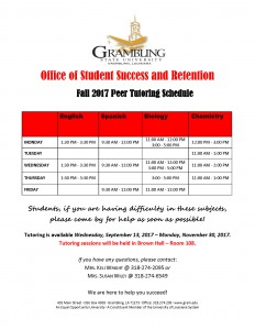 Office of Student Success and Retention - Tutoring Schedule Fall 2017 @ Brown Hall - Room 108 | Grambling | Louisiana | United States
