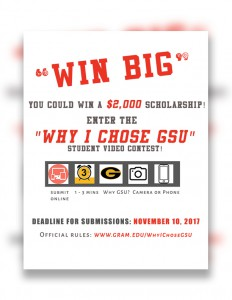 Student Video Contest: Deadline - Nov. 10, www.gram.edu