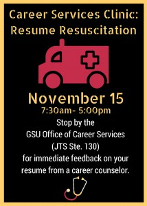 Career Services Clinic: Resume Resuscitation @ GSU Office of Career Services (JTS Ste. 130) | Grambling | Louisiana | United States