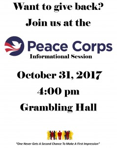 Peace Corps Informational Session - Oct. 31, 4 pm, Grambling Hall