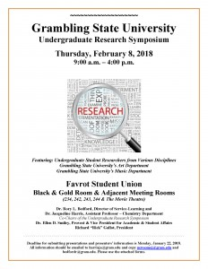 Undergraduate Research Symposium - Feb. 8, 9 am - 4 pm, Black & Gold Room (FSU)