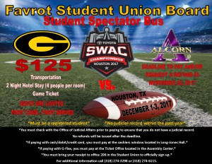2017 SWAC Championship Student Spectator Bus - Dec. 1-3, Houston, TX.