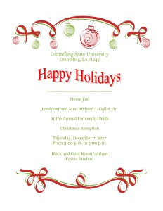 Annual University-Wide Christmas Reception @ Black & Gold Room/Atrium | Grambling | Louisiana | United States