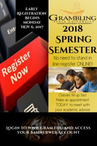 Early Registration for 2018 Spring Semester @ Grambling State University | Grambling | Louisiana | United States