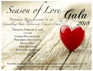 Season of Love Gala 2018 - Feb. 8, 7 pm, PAC Recital Hall