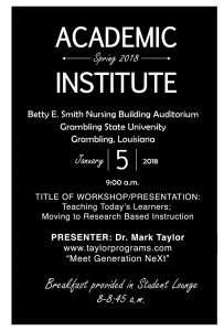 Academic Institute - Spring 2018 @ Nursing Building Auditorium | Grambling | Louisiana | United States