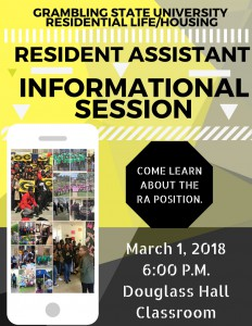 Resident Assistant Informational Session @ Douglass Hall Classroom | Grambling | Louisiana | United States
