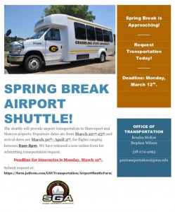 Spring Break Airport Shuttle Deadline - Mar. 12, Office of Transportation