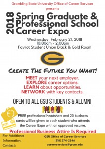 2018 Spring Graduate & Professional School Career Expo @ Favrot Student Union Black & Gold Room | Grambling | Louisiana | United States
