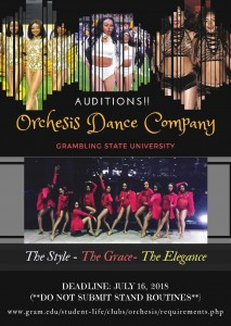 Orchesis Dance Company Auditions - Deadline @ Grambling | Louisiana | United States