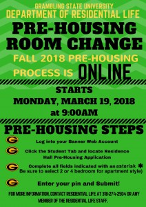 Pre-Housing Fall 2018 - Mon. March 19, 9AM. Online (Banner Web)
