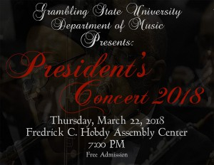 President's Concert 2018 - Mar. 22, 7pm. Hobdy Assembly Center