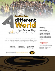 GSU High School Day Fall 2018 - A Different World Sept. 15 11 am - 2 pm, Hobdy Assembly Center