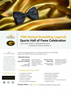 10th Annual Grambling Legends Sports Hall of Fame Celebration - Jul. 14, 6 pm, Hobdy Assembly Center