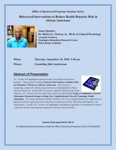 Office of Sponsored Programs Seminar Series: Behavioral Interventions to Reduce Health Disparity Risk in African Americans @ Grambling Hall Auditorium | Grambling | Louisiana | United States