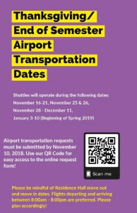 Thanksgiving/End of Semester Airport Transportation Dates @ SGA Office of Transportation | Grambling | Louisiana | United States