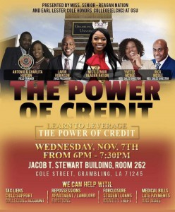 Reagan Nation & Earl Lester Honors College Presents: The Power of Credit @ Jacob T. Stewart Room 262 | Grambling | Louisiana | United States