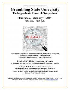 Undergraduate Research Symposium - Feb. 7, 9 am - 4 pm Hobdy Assembly Center