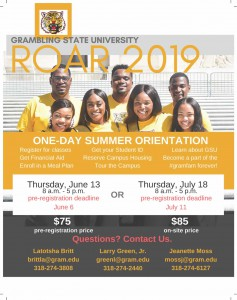ROAR 2019 One Day Summer Orientation - Jun. 13 and Jul. 18, Grambling State University