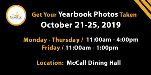 Yearbook Photos - Oct. 21-25 11am - 4pm McCall Dining Hall