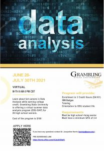 2021 Virtual Summer Data Analysis Program - JUNE 28- JULY 30TH 2021