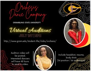 Orchesis Dance Company - Virtual Auditions Flyer 2021