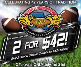 Tickets on Sale for 42nd Annual Bayou Classic!