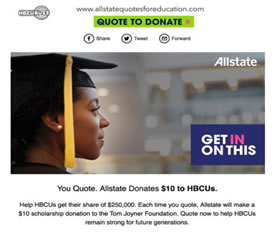 Allstate Quotes for Education, help support HBCUs.