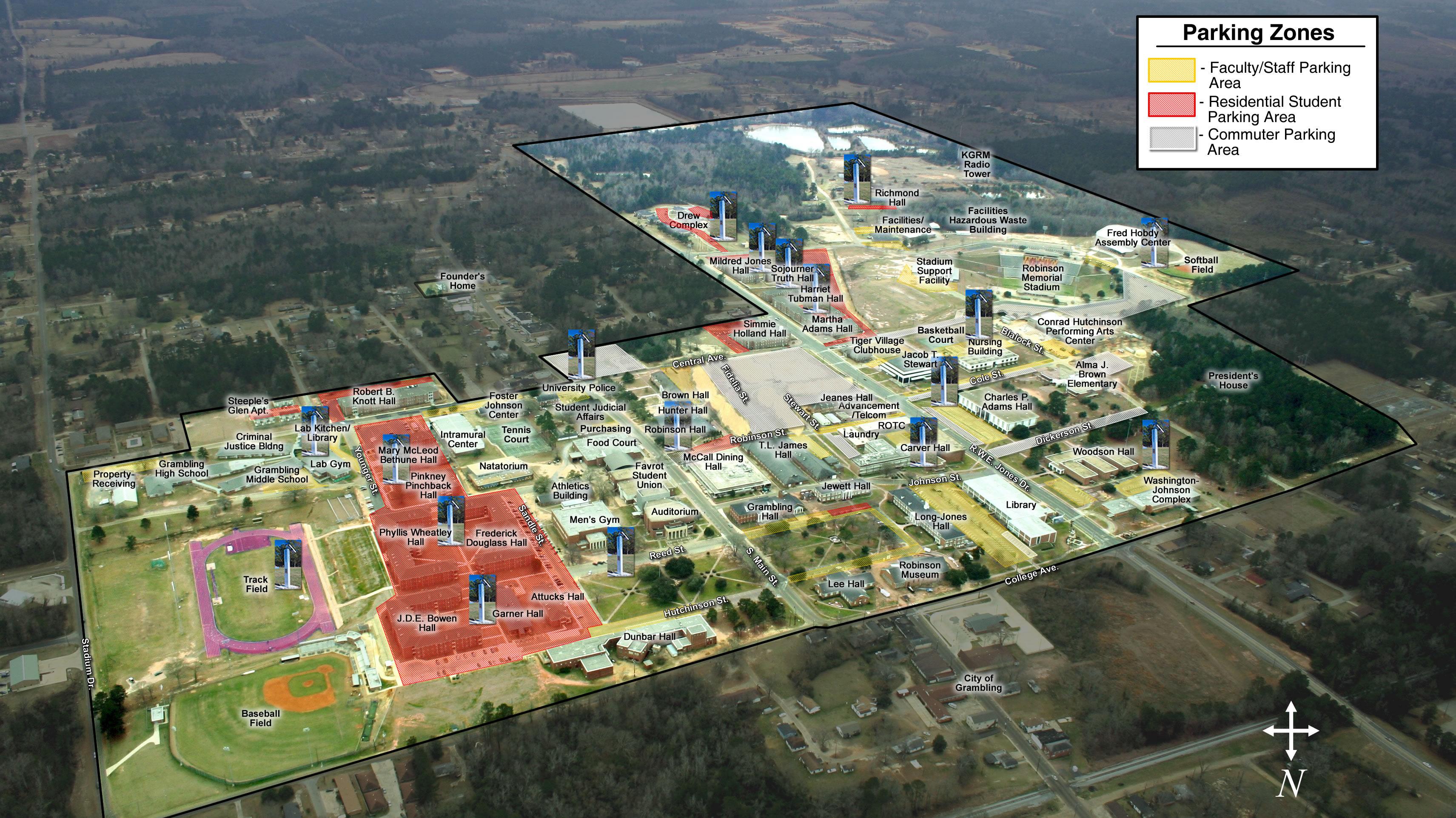 Grambling State University Parking Zones Map