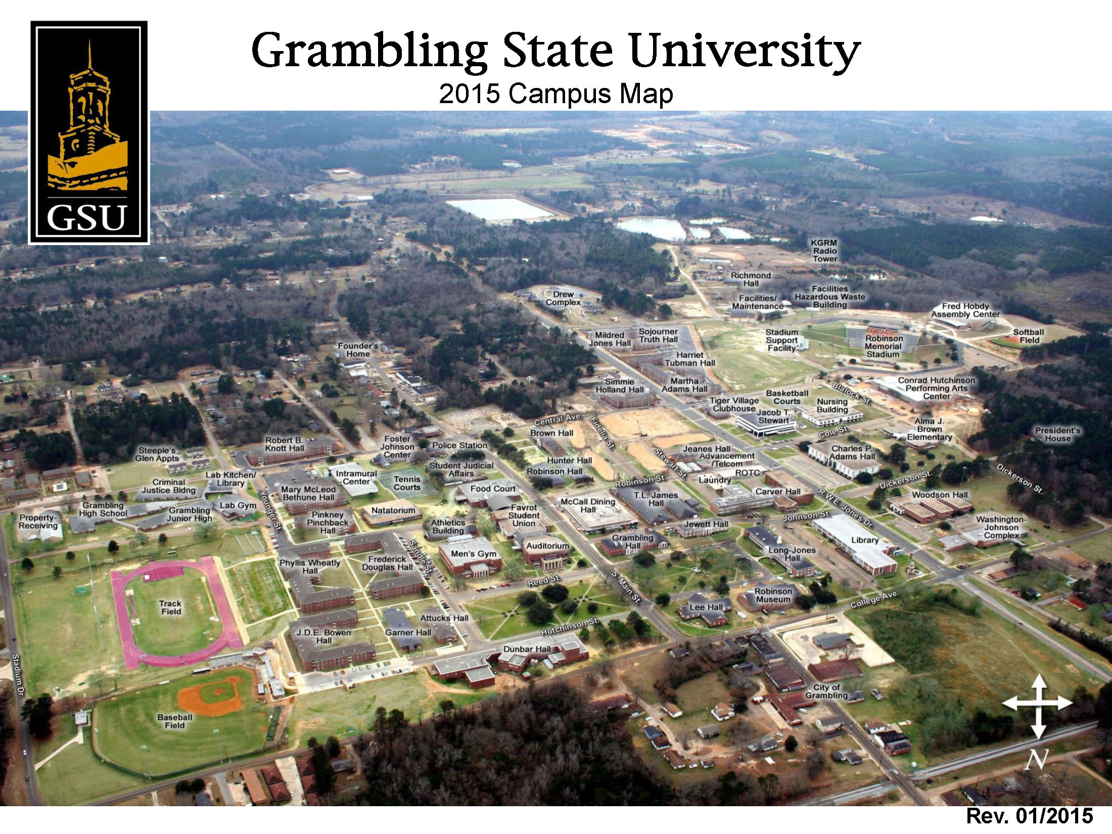 Alcorn State University Campus Map.Grambling State University Campus Map