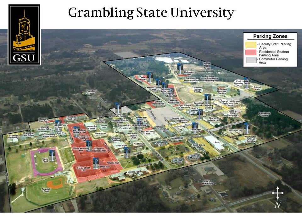 grambling state university campus map Grambling State University Parking Zones Map grambling state university campus map